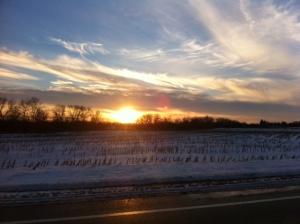 sunset on a snowy night