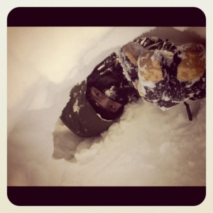 Embellished pic of Jordy in a snow tunnel